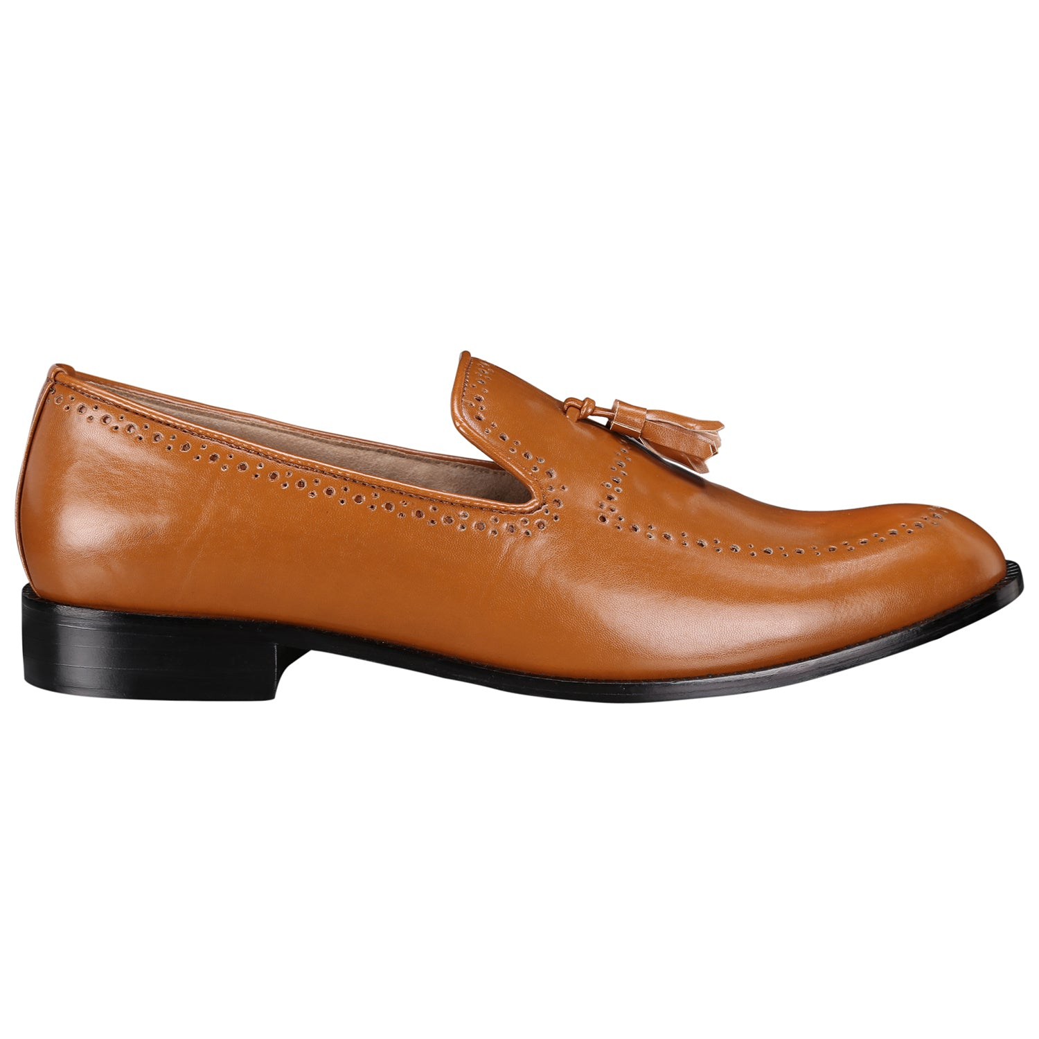 BAYONNE BROGUES TAN TASSEL LOAFERS