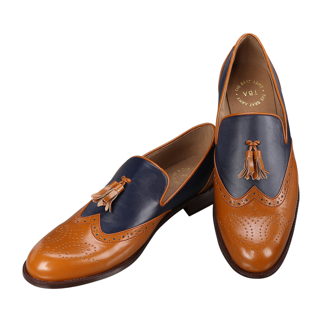 STEAFANO BLUE/TAN WINGTIP BROGUES LOAFERS