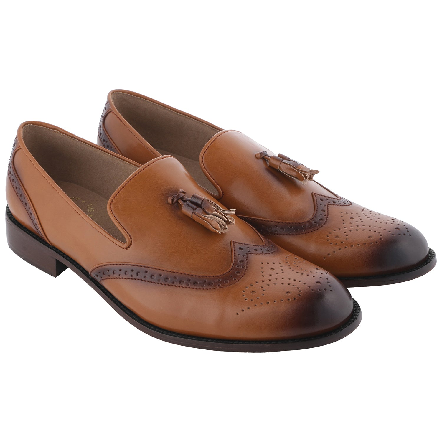 STEAFANO TAN WINGTIP BROGUES LOAFERS