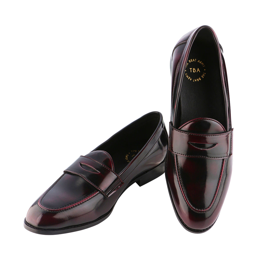 SIENA TIMELESS PATENT CHERRY/BLACK CLASSIC PENNY LOAFERS