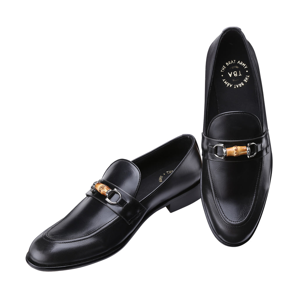 NORMANDY BLACK BAMBOO HORSEBIT BUCKLE LOAFERS