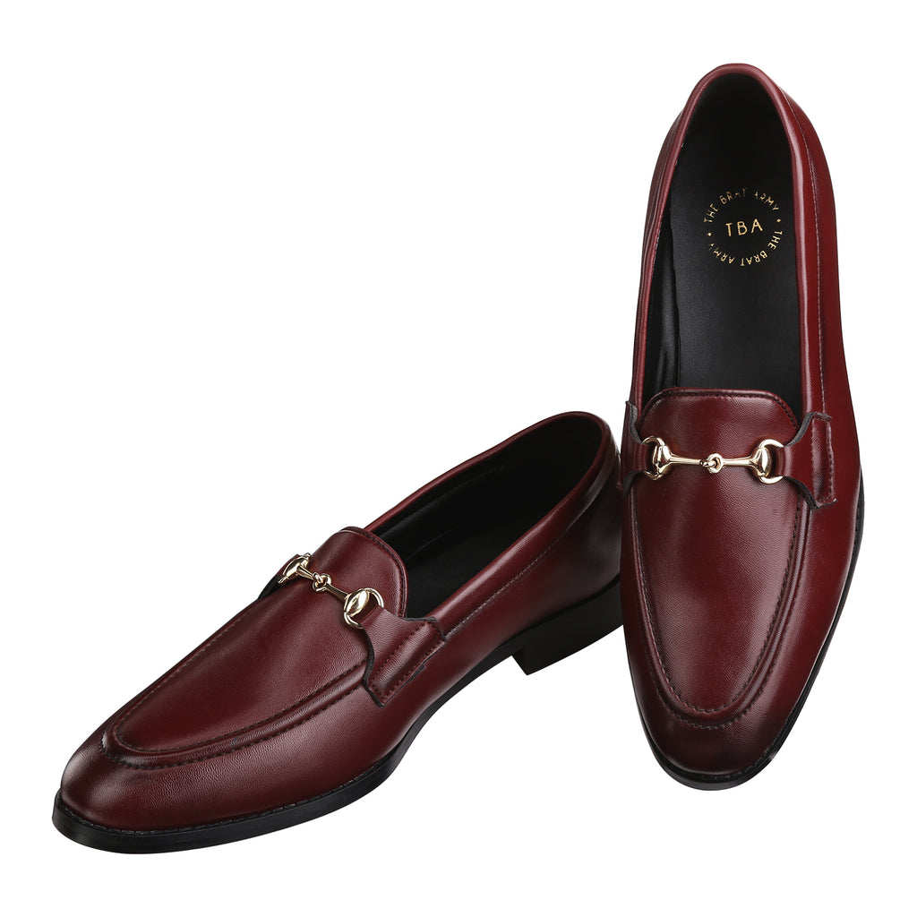 HENLEY WINE HORSEBIT BUCKLE LOAFERS.