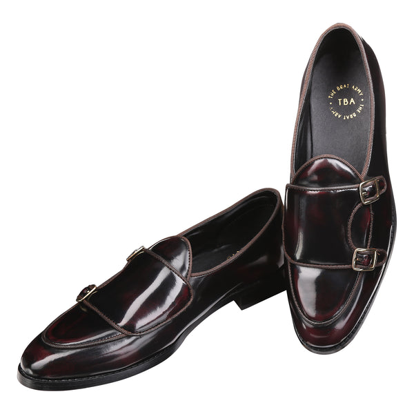 1167f5d9d0a35 BELLO PATENT CHERRY/BLACK DOUBLE MONK LOAFERS – THE BRAT ARMY