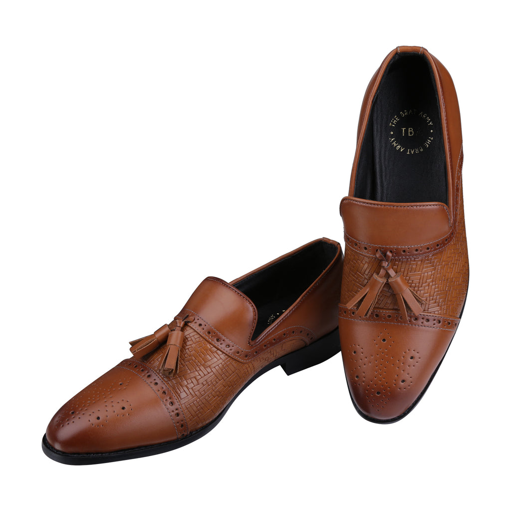 ASHFORD TAN TASSEL LOAFERS