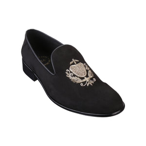 SAN LUIS BLACK HAND-EMBROIDERED SUEDE LOAFERS