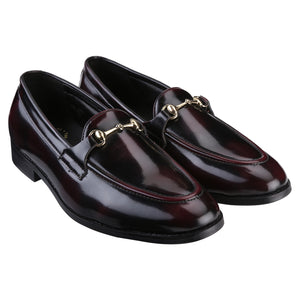HENLEY PATENT CHERRY/BLACK HORSEBIT BUCKLE LOAFERS.
