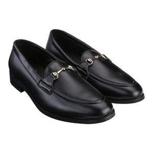 HENLEY BLACK HORSEBIT BUCKLE LOAFERS.