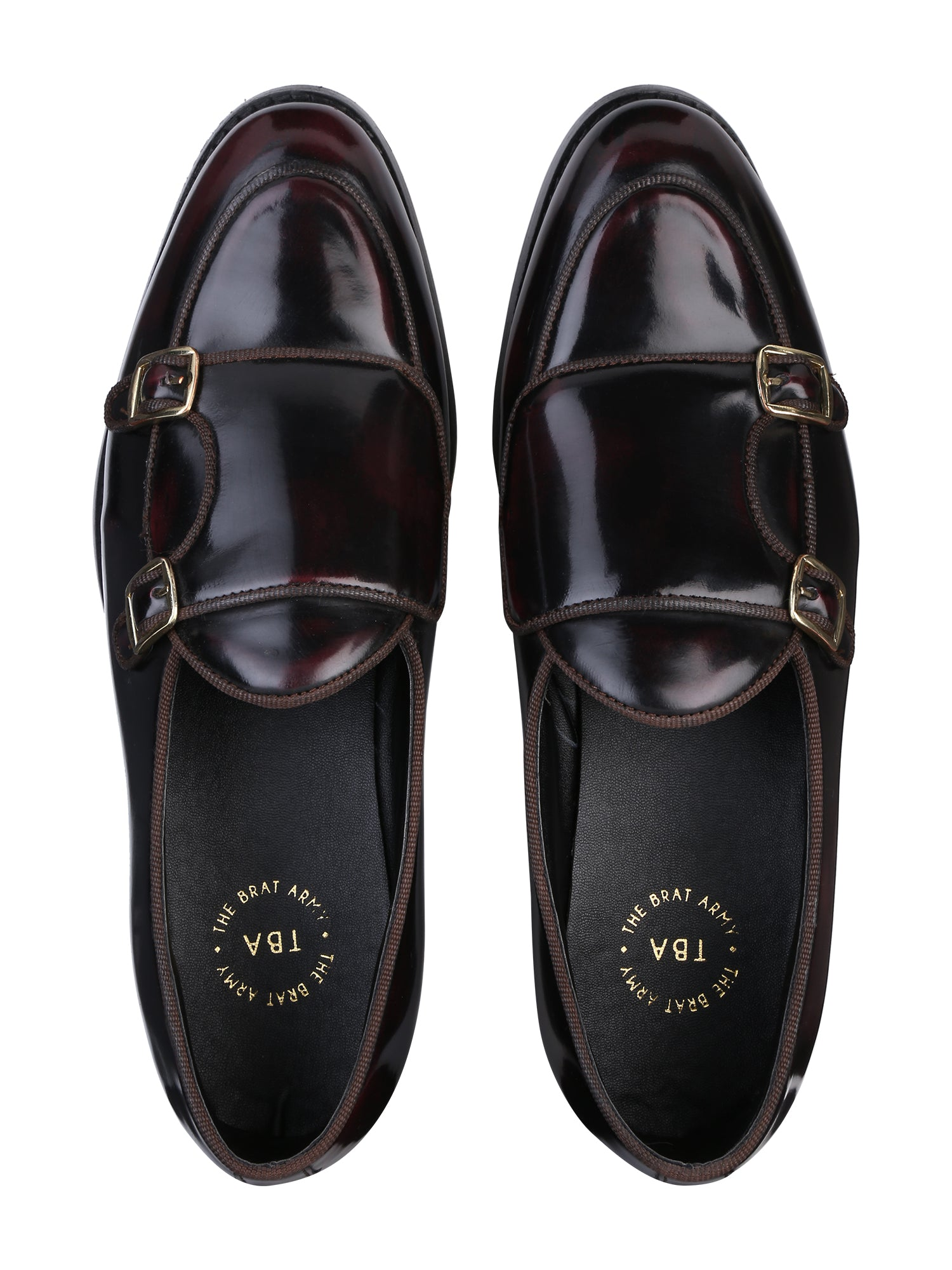 BELLO PATENT CHERRY/BLACK DOUBLE MONK LOAFERS