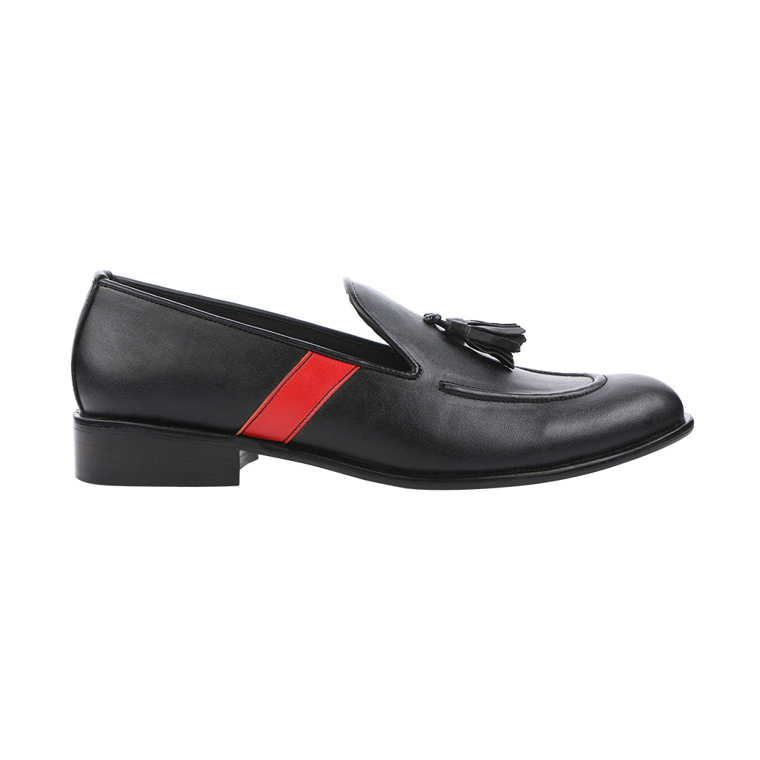 ROSSA CLASSIC BLACK WITH RED STRIPE TASSEL LOAFERS
