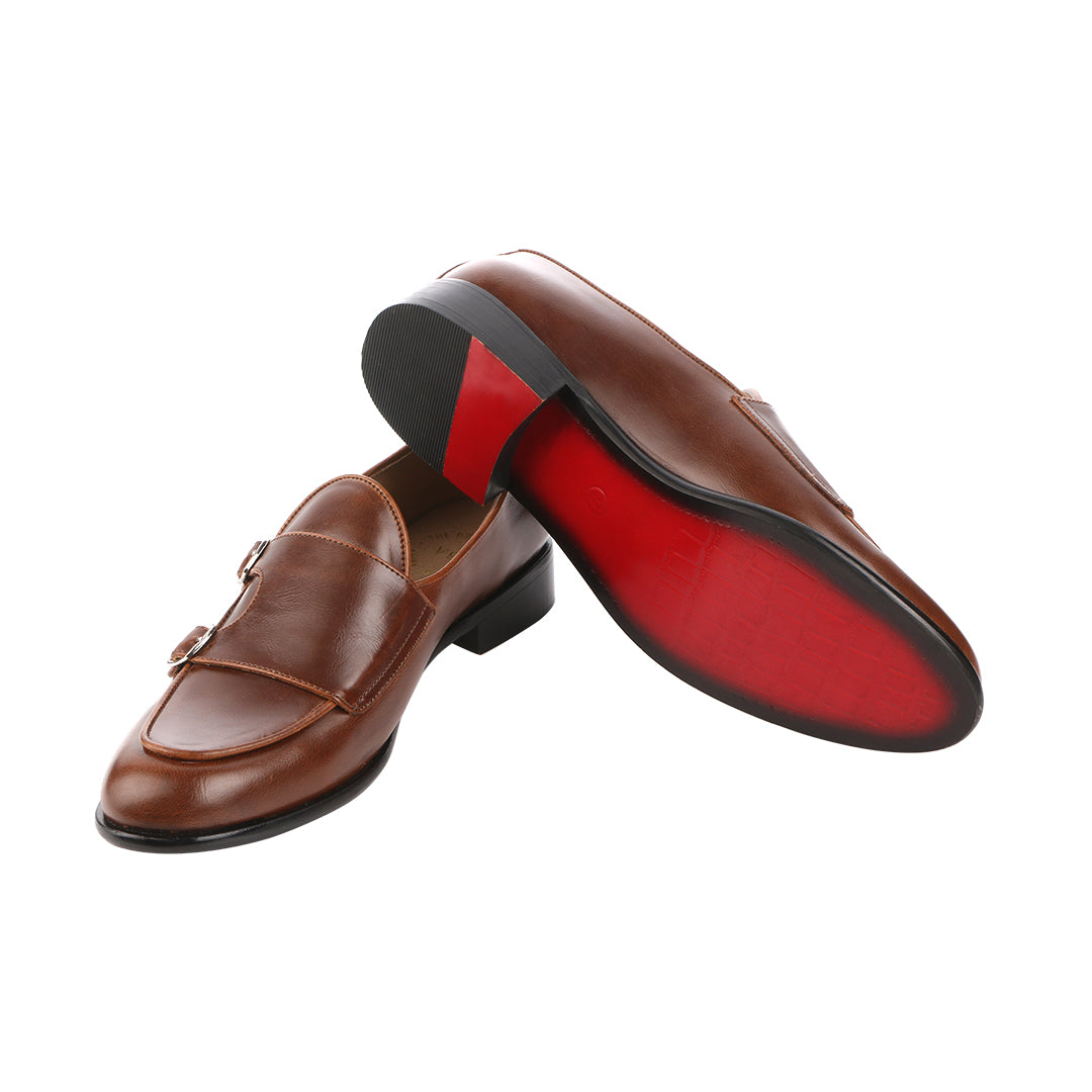 BELLO DOUBLE MONK BROWN LOAFERS