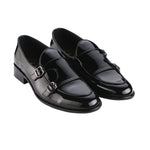 BELLO DOUBLE MONK PATENT BLACK LOAFERS