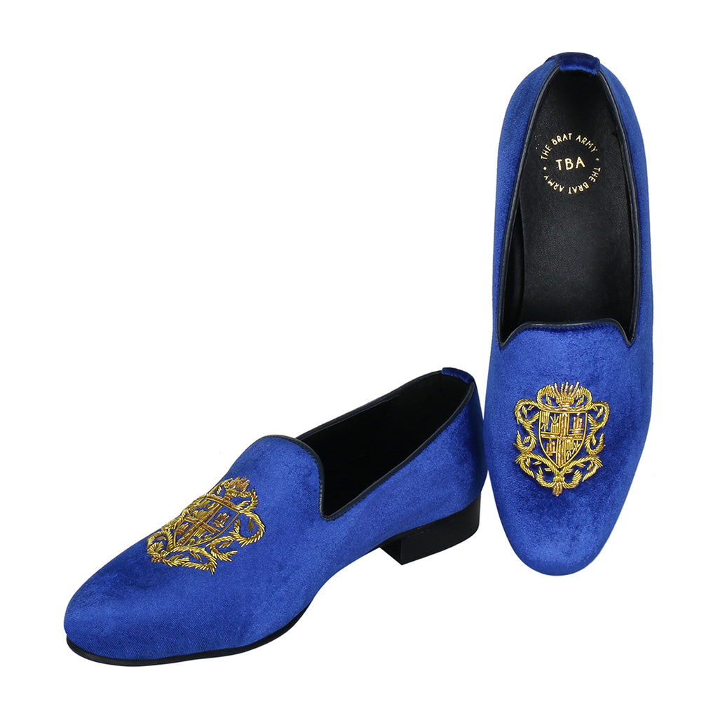 BRISTOL ROYAL BLUE VELVET HAND EMBROIDERED SLIP ONS