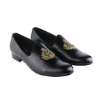 ANZA BLACK HAND-EMBROIDERED ETHNIC SLIP-ONS