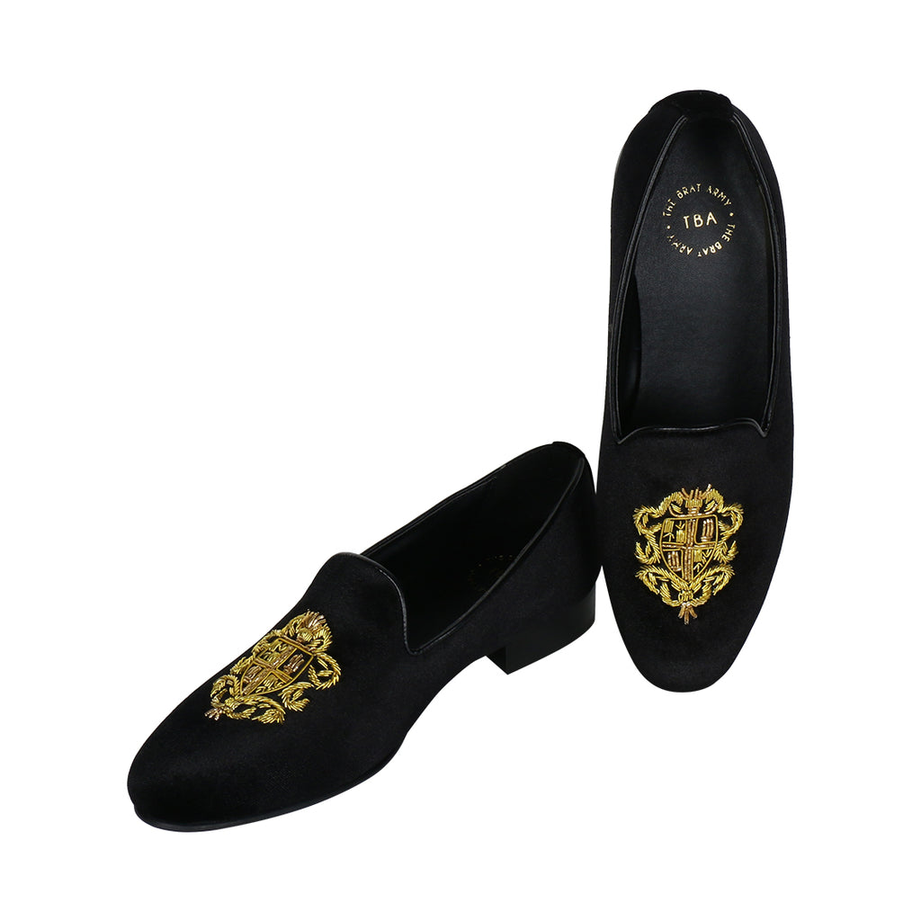 BRISTOL BLACK VELVET HAND EMBROIDERED SLIP ONS