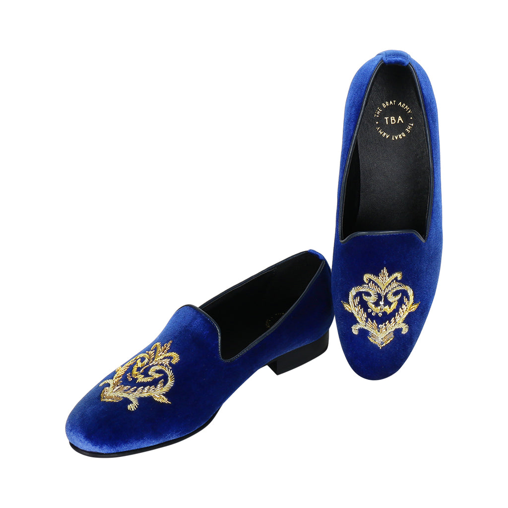 FOXFORD ROYAL BLUE VELVET HAND EMBROIDERED SLIP ONS