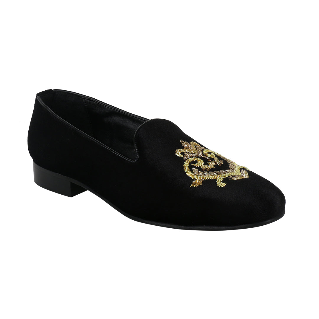 FOXFORD BLACK VELVET HAND EMBROIDERED SLIP ONS