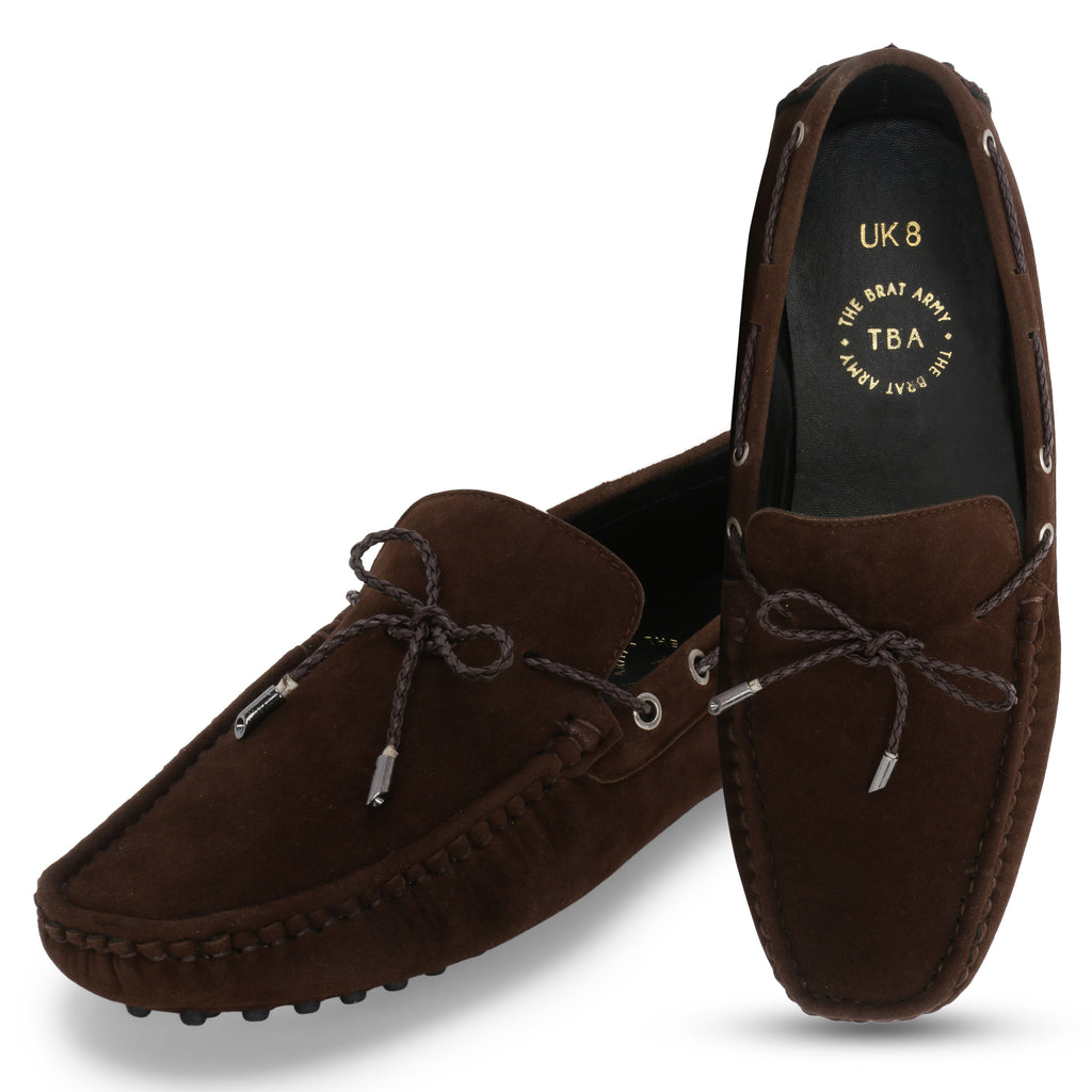 AZA BROWN SUEDE DRIVING LOAFERS