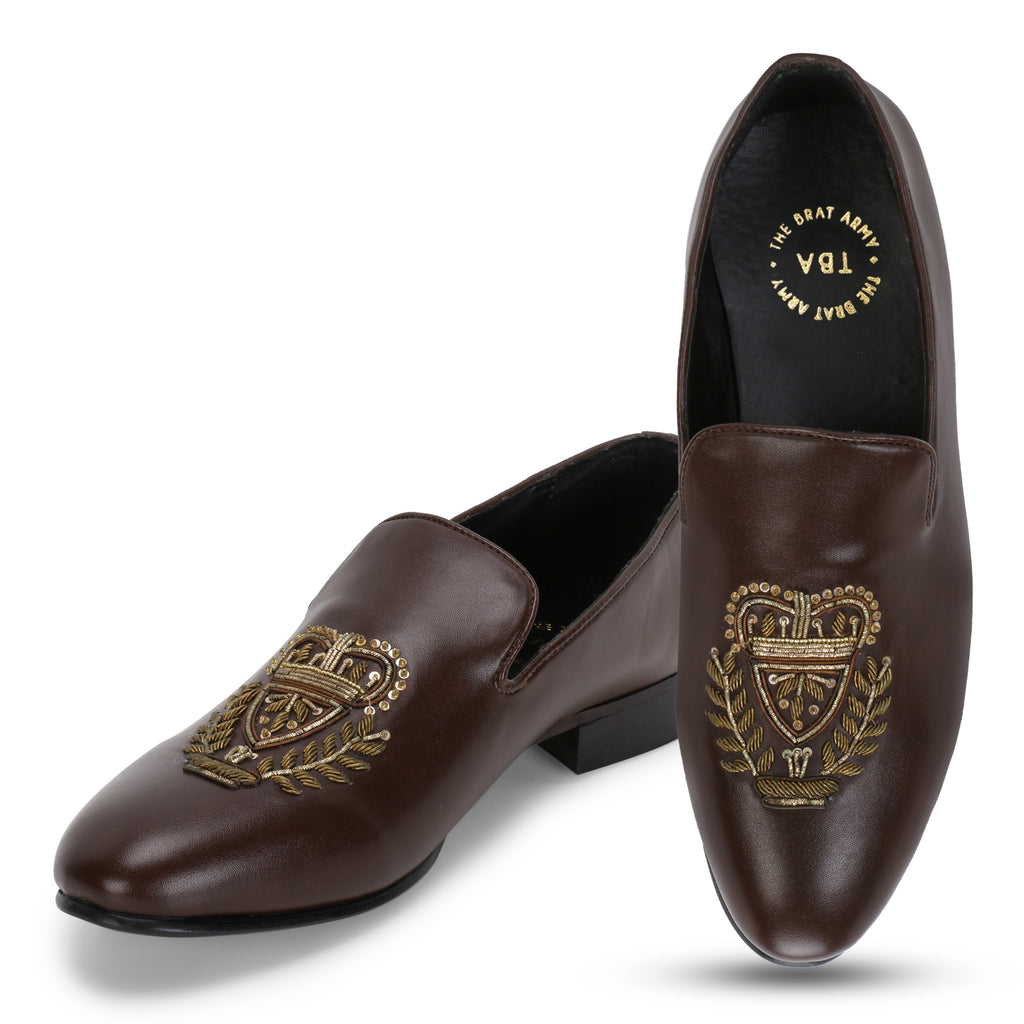 BERN BROWN HAND-EMBROIDERED ETHNIC SLIP-ONS