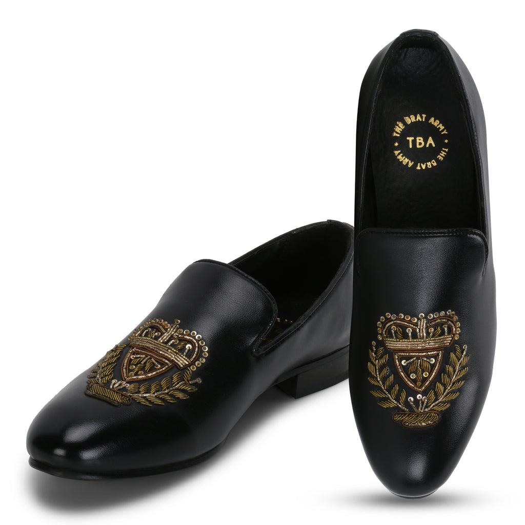 BERN BLACK HAND-EMBROIDERED ETHNIC SLIP-ONS