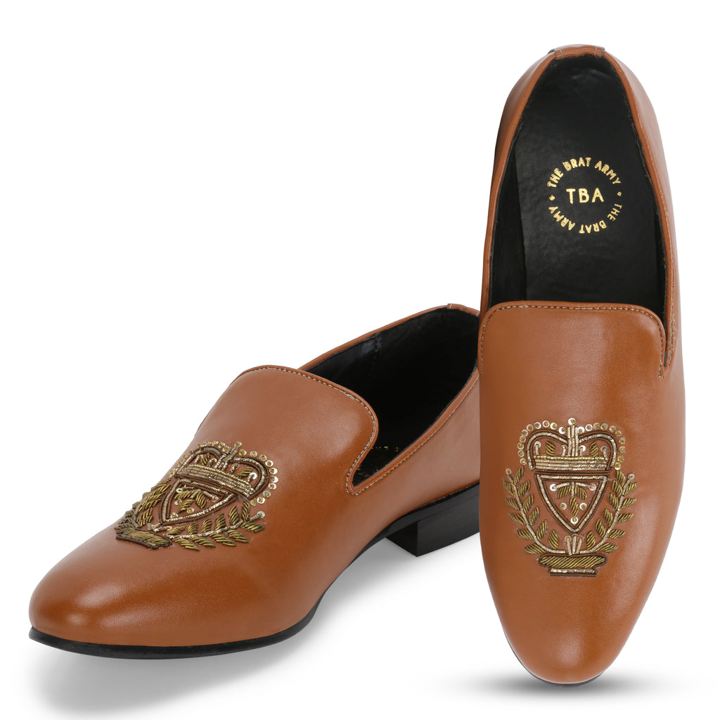 BERN TAN HAND-EMBROIDERED ETHNIC SLIP-ONS
