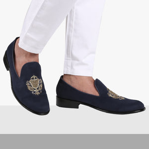 SAN LUIS NAVY BLUE HAND-EMBROIDERED SUEDE LOAFERS
