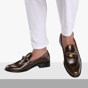 NORMANDY BROWN BAMBOO HORSEBIT BUCKLE LOAFERS
