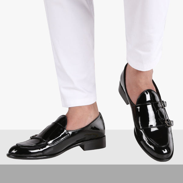c6fe1f6e52390 BELLO DOUBLE MONK PATENT BLACK LOAFERS – THE BRAT ARMY