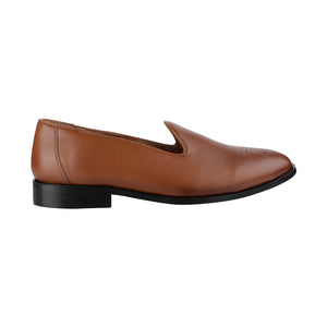 ASSISI TIMELESS MEDALLION TOE TAN SLIPPER SHOES