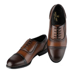WILTSHIRE CLASSIC DUAL-TONE TAN AND BROWN CAPTOE OXFORDS