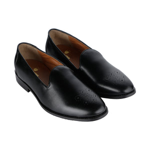 ASSISI TIMELESS MEDALLION TOE BLACK SLIPPER SHOES