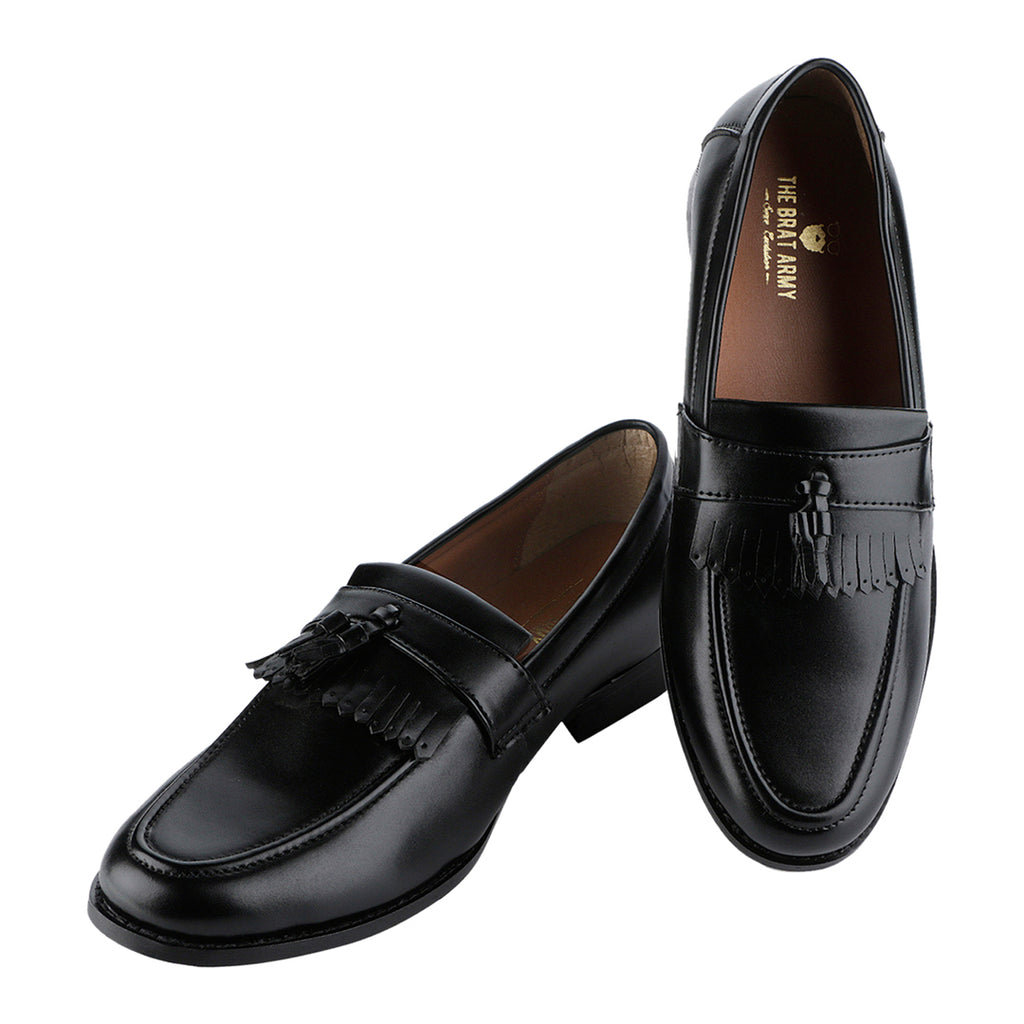 WHITBY BLACK TASSEL AND KILTIES LOAFERS