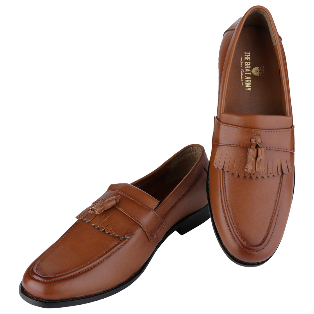 WHITBY TAN TASSEL AND KILTIES LOAFERS