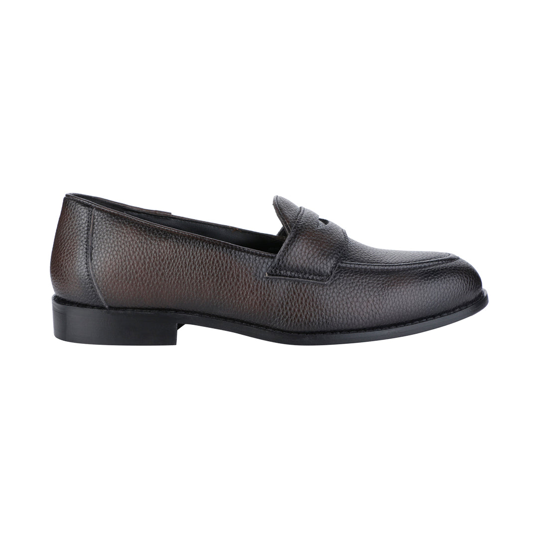 LUCCA BROWN PEBBLE GRAINED CLASSIC PENNY LOAFERS
