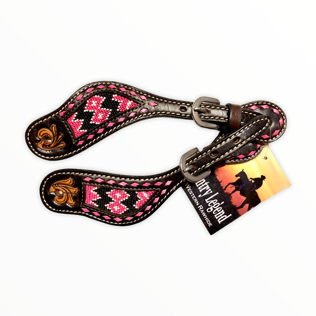 COUNTRY LEGEND PINK BEADED INLAY LADIES SPUR STRAPS