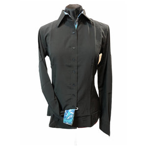 Black Microfiber Zip UP with contrasting collar and Cuffs