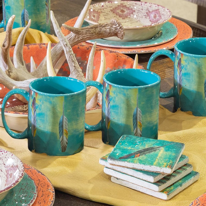 8 PIECE TOSSED FEATHER DESIGN STONEWEAR MUGS & COASTERS