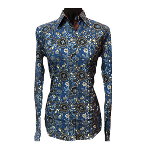 Navy and Black Paisley with Brown Contrasting Collar - Microfibre