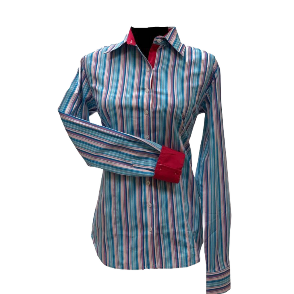 Stripes - Turquoise, Red - Cotton/lycra