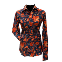 Orange and Dark Navy Paisley - Microfibre