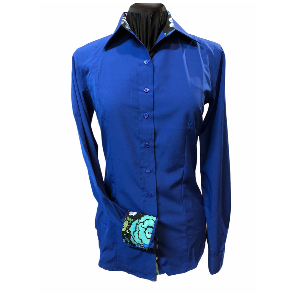 Royal Blue Microfiber Zip UP with contrasting collar and Cuffs