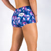 Halo Purple Palm Mid Rise Roll Booty Shorts