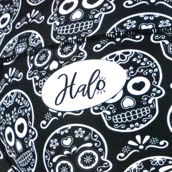 Halo Black Sugar Skulls High Rise Roll Down Booty Shorts