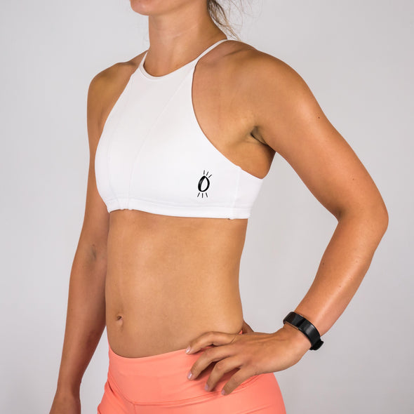 Halo White High Neck Sports Bra