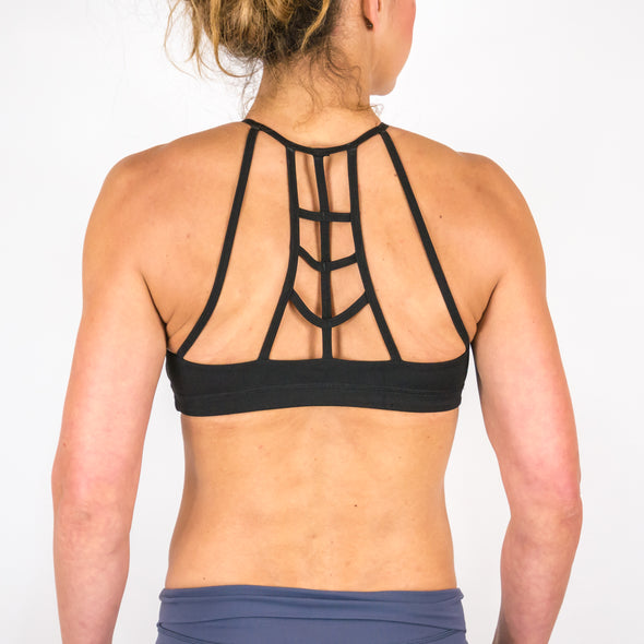 Halo Black High Neck Sports Bra