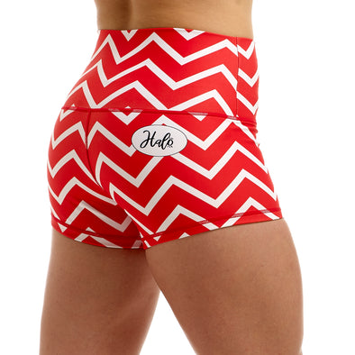 Halo Red Zig Zag High Rise Roll Down Booty Shorts