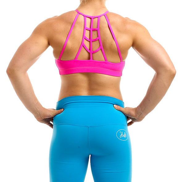 Halo Neon Pink High Neck Sports Bra