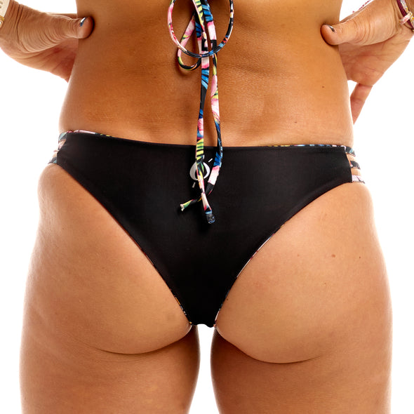 Halo Hibiscus Heaven / Black Reversable Cheeky Bottoms