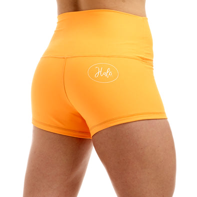 PRE ORDER - Halo Neon Orange High Rise Roll Down Booty Shorts - PRE ORDER