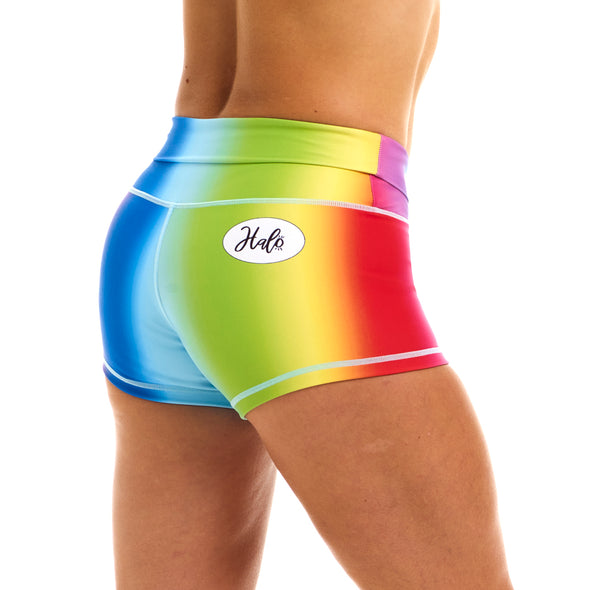 Halo Rainbow High Rise Roll Down Booty Shorts