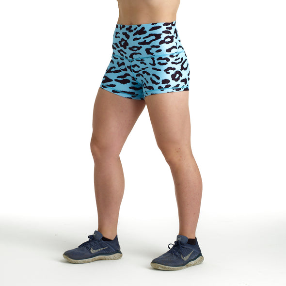 Halo Aqua Leopard Rise Roll Down Booty Shorts